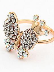 Korean Style Gold Elegant Luxury Rhinestone Butterfly  Ring - Butterfly Princess