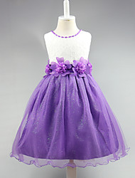 Ball Gown Knee-length Flower Girl Dress - Lace Satin Tulle Sleeveless Jewel with Beading Flower(s)