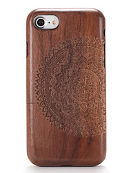 For Apple iPhone 7 7Plus Embossed Pattern Case Back Cover Case Wood Grain Mandala Hard Solid Wood  6s Plus 6 Plus  6s 6