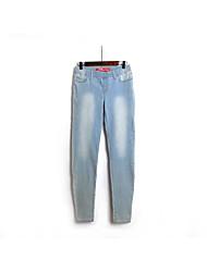 Men's Mid Rise Micro-elastic Jeans Pants,Harem Solid