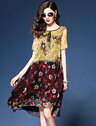 Women's Going out Casual/Daily Street chic Loose Chiffon Dress Print Patchwork Round Neck Knee-length Short Sleeve Silk Summer