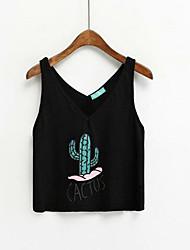 Dames Eenvoudig T-shirt,Casual/Dagelijks Bloemen Print V-hals Mouwloos Katoen