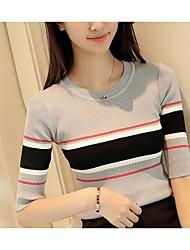Damen Solide Einfach Formal T-shirt,Rundhalsausschnitt ½ Länge Ärmel Baumwolle