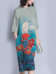 Feminino balanço Vestido,Para Noite Casual Férias Vintage Moda de Rua Floral Estampa Animal Decote Redondo Altura dos Joelhos Meia Manga