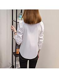 Women's Simple Shirt,Solid Shirt Collar Long Sleeve Cotton