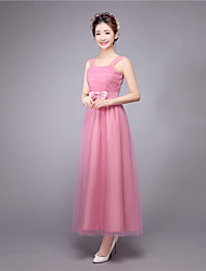 Ankle-length Straps Bridesmaid Dress - Elegant Sleeveless Satin Tulle