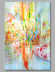 Oil Painting Abstract Colorful Rain Scenery with Stretched Frame Ready to Hang Hand-Painted On Canvas