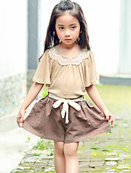 Girls' Going out Casual/Daily School Solid SetsCotton All Seasons Sleeveless Clothing Set