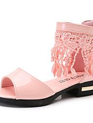 Girls' Sandals Summer Comfort Flower Girl Shoes PU Party & Evening Dress Casual Chunky Heel Zipper Tassel Blushing Pink Black White