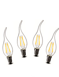 3W E14 LED Candle Lights CA35 4 COB 400 lm Warm White Decorative AC 220-240 V 4 pcs