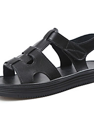 Women's Sandals Summer Comfort PU Outdoor Low Heel Buckle Silver Black White Walking