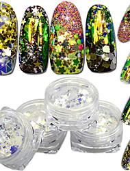 4bottles / set mode magique éblouissante découpage décoration ongle art glitter fleur étoile triangle brillant fine tranche design coloré