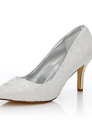 Feminino-Sapatos De Casamento-Conforto Sapatos clube Sapatos Dyeable-Salto Agulha-Ivory-Seda Tule-Casamento Ar-Livre Escritório &