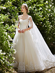 Ball Gown Straps Watteau Train Tulle Wedding Dress with Crystal Beading Sequin Appliques by HUA XI REN JIAO