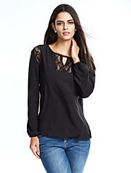 Tee-shirt Femme,Mosaïque Décontracté / Quotidien simple / Chic de Rue Printemps / Automne Manches Longues Col ArrondiBleu / Blanc / Noir