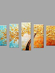 Hand-Painted Modern Golden Tree Oil Painting For Home Decoration With Stretched Frame Ready To Hang