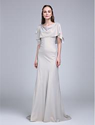 LAN TING BRIDE Sweep / Brush Train Cowl Bridesmaid Dress - Open Back Half Sleeve Chiffon