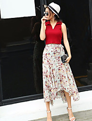 Women's High Rise Midi Skirts A Line Floral