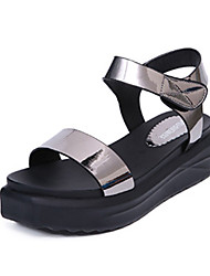 Women's Sandals Summer Comfort PU Casual Low Heel Buckle Blue Red Silver White