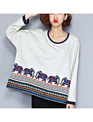 Damen Verziert Einfach Lässig/Alltäglich T-shirt,Rundhalsausschnitt Langarm Baumwolle