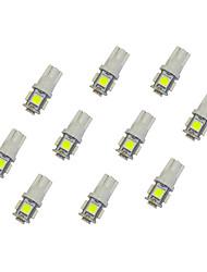 10pcs t10 5 * 5050 smd led voiture ampoule lumière blanche dc12v