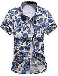 Men's Fashion Floral Print Casual Slim Fit Plus Size 7XL Short Sleeve Shirt/ Cotton /Polyester/Work/Plus Size