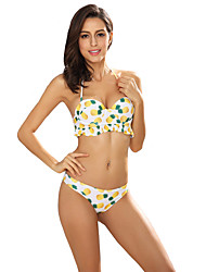 ANGELL Pineapple printing Bikini Lace Up Floral Ruffle Nylon Polyester