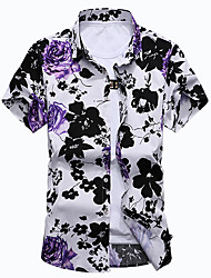 Men's Going out Casual/Daily Plus Size Simple Summer Shirt,Floral Classic Collar Short Sleeves Cotton Polyester Medium