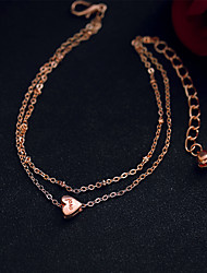 Women's Chain Bracelet Jewelry Fashion Alloy Love Heart Gold Jewelry For Wedding Party Special Occasion Anniversary Birthday Engagement Gift