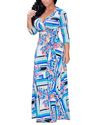 Women's Casual/Daily Holiday Vintage Street chic Fashion Swing Sheath DressFloral Geometric V Neck Maxi  Sleeve Spring Fall High Rise