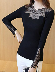 Women's Casual/Daily Simple Blouse,Solid Round Neck Long Sleeve Spandex