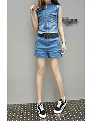 Women's Low Rise Casual/Daily Rompers,Simple Loose Straight Denim Solid Spring Summer Winter