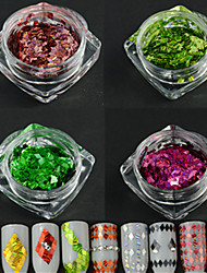 4Bottle/set New Fashion Rhombus Design Dazzling Paillette Nail Art Laser Stripe  Glitter Thin Slice DIY Beauty Decoration LW1and7and8and12