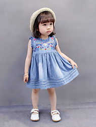 Baby Casual/Daily Beach Holiday Solid Dress,Cotton All Seasons-