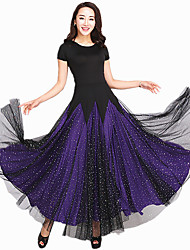 Ballroom Dance Dresses Women's Performance Spandex Tulle Splicing 1 Piece Short Sleeve Dress