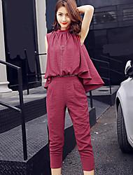 Mujer Sexy Chic de Calle Noche Trabajo Fiesta/Cóctel Camisas Pantalón Trajes,Escote Redondo Un Color