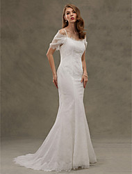 LAN TING BRIDE Trumpet / Mermaid Wedding Dress - Classic & Timeless Lacy Look Court Train Spaghetti Straps Lace with Button