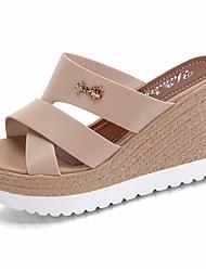 Для женщин Тапочки и Шлепанцы Сандалии Удобная обувь Полиуретан Лето Повседневные Для прогулок Удобная обувь С отверстиями На танкетке