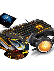 USB Wired Gaming Office Keyboard Breathing Lights 3200DPI Mouse Earphone and Pad 4 Pieces a Set
