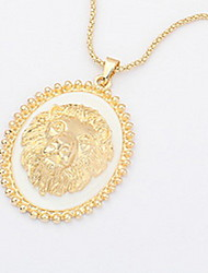 Metal Lion Round Card Pendant Sweater Chain Necklace Women Office Lady Jewelry for Women