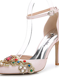 Women's Sandals Summer Fall D'Orsay & Two-Piece Silk Wedding Outdoor Office & Career Party & Evening Dress Casual Stiletto HeelRhinestone