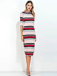 Women's Casual/Daily Work Simple Bodycon Dress,Solid Round Neck Above Knee Short Sleeve Acrylic Spring Summer High Rise Stretchy Medium