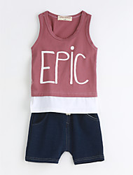 Boys' Casual/Daily Solid Sets,Cotton Summer Sleeveless Clothing Set