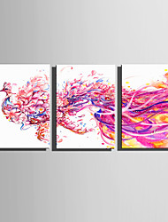 E-HOME Stretched Canvas Art  Flying Pink Phoenix Decoration Painting Set Of 3