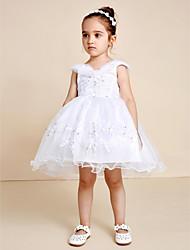 Princesse genou longueur robe fille fleur - Tulle en satin sans manches v-cou avec perles
