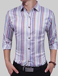 Для мужчин Для вечеринок День рождения Повседневные Офис На каждый день Все сезоны Рубашка Рубашечный воротник,Простое Богемный Панк &