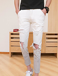 Men's Low Rise Micro-elastic Chinos Pants,Sexy Slim Solid
