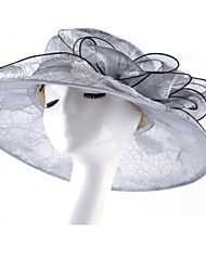 Women's Fashion Mesh Organza Bucket Sun Hat Handmade Flower Striped Spring/Fall  Summer  Hats