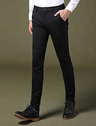 Hombre Cosecha Sencillo Chic de Calle Tiro Bajo Microelástico Chinos Empresa Pantalones,Corte Recto Delgado Un Color Color puro