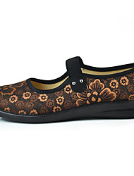 Women's Flats Comfort Fabric Spring/Fall Cross-Seasons Casual Walking Gore Flower Flat Heel Coffee Ruby 1in-1 3/4in